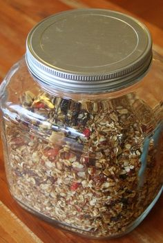 A Formula for Homemade Granola. She really gives the bare bones of what is necessary and you can put whatever you like in.