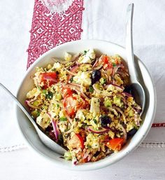 A twist on the traditional Greek salad recipe – with added bulgar wheat for extra sustenance.
