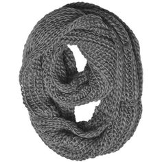 Chunky Knit Infinity Scarf Grey Color ($6.68) ❤ liked on Polyvore featuring accessories, scarves, grey infinity scarves, infinity loop scarves, circle scarves, gray shawl and round scarf