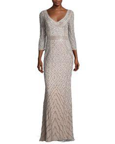 Theia 3/4-Sleeve Beaded Column Gown