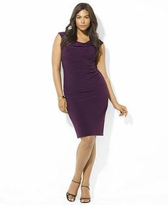 Lauren Ralph Lauren Plus Size Cap-Sleeve Ruched Jersey Dress - Plus Size Dresses - Plus Sizes - Macy's