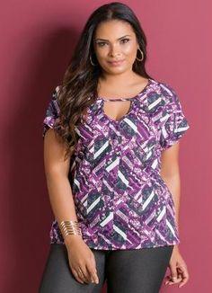 Blusa (Estampada) com Detalhe Vazado Plus Size