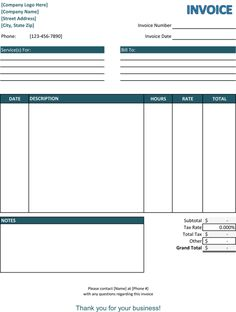Free Invoice Template Calculating Total  Billing Invoice