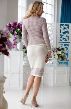 """Stylish jacquard knitted three-piece """"Troyka"""" suit by Olesya Masyutina. jacket and 2 skirts, in light color for a more festive occasions and dark for every day. 900 models of women knitted and fabric dresses and suits for every day, evening and wedding"""