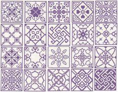 Set of 20 cross stitch squares Machine Embroidery by Genniewren