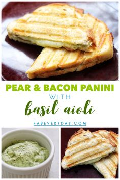 Pear and Bacon Panini with Basil Aioli recipe Sandwiches For Lunch, Delicious Sandwiches, Grilled Sandwich, Sandwich Recipes, Wrap Recipes, Gourmet Recipes, Basil Aioli Recipe, Aioli Sauce, Sandwich Ingredients