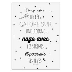 Decorate your child's room with these magnificent stickers bearing a message worthy of the most beautiful fairy tales! With words, stars and moons, you decide what message to write! DIMENSIONS 50 x 70 cm. Can only be app French Words, French Quotes, Positive Attitude, Positive Quotes, Sticker Citation, Funny Christmas Cards, Kids Stickers, Funny Cards, Romantic Quotes