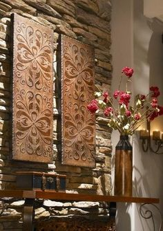 Gorgeous COPPER Finish Metal Wall Art Embossed Panels Extra Large XL Brown S/2