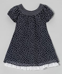 Navy & White Ruffle Hem Swing Dress - Toddler & Girls #zulily #ad *So sweet