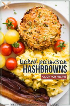 Baked Parmesan Hashbrowns, Baked To Golden Brown Perfection And Made With Freshly Grated Potatoes, Are A Breakfast Favorite! They are loaded with flavor and are the perfect addition to your hearty breakfast. If you love traditional hashbrowns, then you will really love these Baked Parmesan Hashbrowns! Healthy Vegetable Recipes, Healthy Vegetables, Healthy Meals, Vegetarian Recipes, Brunch Recipes, Breakfast Recipes, Potato Dishes, Potato Recipes, Monthly Meal Planning