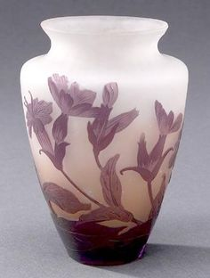IMAGE: A frosted Galle Cameo vase with floral design.   <i>image courtesy of Sloan