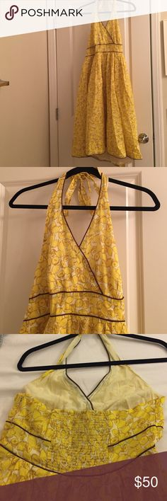 Anthropologie size 12 dress, lemon yellow Beautiful size 12 lemon yellow dress, from Anthropologie, moulinette souers brand. multi colored w/brown piping fully lined A-line 100% cotton skirt. From Anthropologie. Barely worn. Fully lined and a lovely quality classic. Comes from a pet/smoke-free home. Absolutely beautiful. V neck front with tie around neck. Back is open below the strapless bra line. A victorias secret strapless bra works well under this dress. Very slimming style. Gr8 for…