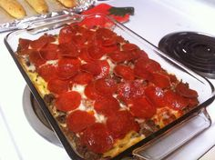 Pizza casserole--could be meatless