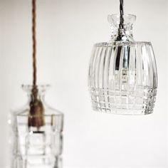 Julian Carafe pendant lamp - clear, gold cord - Ebb & Flow