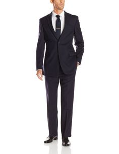 Tommy Hilfiger Men's Nathan 2-Button Side Vent Suit, Navy, 38 Short
