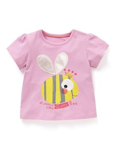 Buy the Bee Appliqué T-Shirt from Marks and Spencer's range. Shirts For Girls, Kids Shirts, Fabric Drawing, Newborn Fashion, Cartoon Kids, Sewing For Kids, Baby Patterns, Baby Wearing, Kids Wear