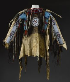 Blackfoot Beaded and Fringed Hide Man's Wearing Shirt length 43 in. by width 63 in.