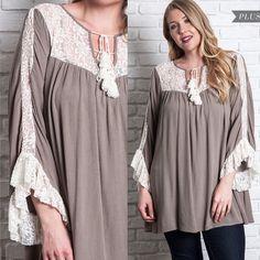 1f50262e14e59 New UMGEE Ruffled Lace Yoke Trapeze Gauze Tunic BabyDoll Tie Top Dress Plus  Size