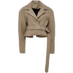 Tome Tailored Cropped Jacket ($1,895) ❤ liked on Polyvore featuring outerwear, jackets, tan, tan jacket, tome, brown jacket, tan cropped jacket and tailored jacket