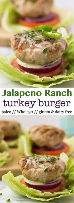 Fire up the grill for these Jalapeño Ranch Turkey Burgers, an easy summer burger recipe that is that gluten free, dairy free, paleo, and Whole30 approved! - Eat the Gains via @eatthegains