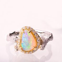 OPAL Genuine Solid White Australian Coober Pedy Opal .925 Sterling Silver Solitaite Ring Free USA Shipping!