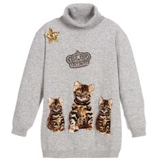 Girls adorable grey roll neck sweater by Dolce & Gabbana. Made in a soft, fine knitted cashmere, wool and silk blend, with ribbing on the hem and cuffs. The front has a gorgeous fleece feelBengal cat appliqué of the designer's cat, known as'Zambia',with sequin stars and a gem crown.