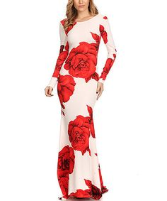 Another great find on #zulily! White & Red Floral Maxi Dress - Plus Too #zulilyfinds