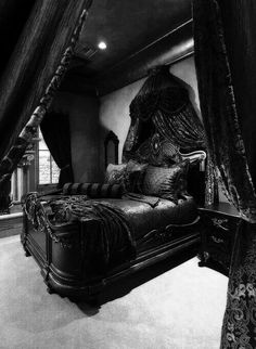 feel like a princess in a dark castle in this room. And I am okay with that.I'd feel like a princess in a dark castle in this room. And I am okay with that. Black Bedroom Furniture, Gothic Furniture, Bedroom Black, Black Bedrooms, Neutral Bedrooms, Skull Furniture, Bedroom Simple, Bedroom Modern, Black Bedding