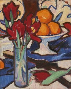 Samuel John Peploe, Still Life with Tulips and Oranges. oil on canvas laid on board. Painting Still Life, Still Life Art, Still Life Flowers, Edvard Munch, Paintings For Sale, Oil Paintings, Fine Art Paper, Oil On Canvas, Modern Art