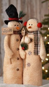 "Country christmas plush snowman couple with ""welcome "" sign & bird house Primitive Christmas, Country Christmas, Christmas Snowman, Winter Christmas, Christmas Ornaments, Father Christmas, Christmas Trees, Sock Snowman, Snowman Crafts"