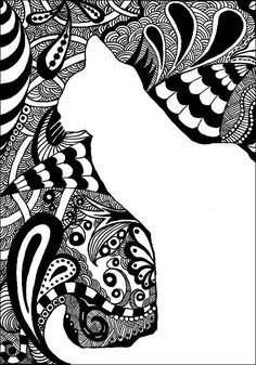 Drawing ideas - positive negative space and zentangle (space, line, etc) Zentangle Drawings, Doodles Zentangles, Zentangle Patterns, Art Drawings, Zen Doodle, Doodle Art, Tangle Art, Art Plastique, Teaching Art