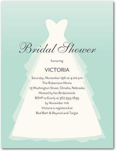 Lovely Dress - Studio Basics: Bridal Shower Invitations in Sea Glass | Wedding Paper Divas Studio Basics