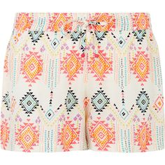Accessorize Carmela Aztec Printed Shorts featuring polyvore, fashion, clothing, shorts, pink, elastic waist shorts, neon shorts, neon pink shorts, beach shorts and aztec shorts
