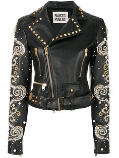 Fausto Puglisi Embellished Leather Biker Jacket In Black Edgy Outfits, Cool Outfits, Fashion Outfits, Womens Fashion, Cute Jackets, Jackets For Women, Biker Jackets, Designer Leather Jackets, Elisa Cavaletti