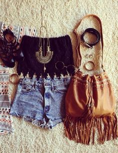 ☮ American Hippie Bohemian Style ~ Boho Summer Festival Outfit .... W/a jacket