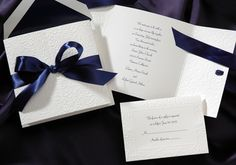 Blue and White Wedding Ideas - Blue Ribbon Wedding Invitations by Occasions In Print (Invitation Link - http://www.occasionsinprint.yourinvitationplace.com/Detail.aspx?ItemNum=T1999MN&WebName=occasionsinprint)