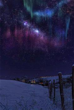 Winter Aurora Borealis & Milky Way