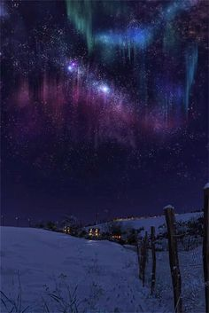 Winter Aurora Borealis and the Milky Way