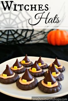 Witches Hats Halloween Cookies -  took me literally 15 minutes.  3 ingredients, no baking, that's my kind of treat!