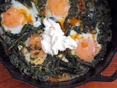 Yotam Ottolenghi's Skillet-Baked Eggs with Spinach, Yogurt, and Spiced Butter | Serious Eats : Recipes
