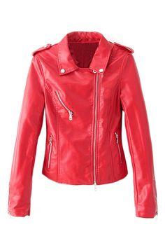 ROMWE | Red Zippered Slim PU Jacket, The Latest Street Fashion