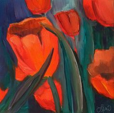"Daily Paintworks - ""Tulip Dusk"" - Original Fine Art for Sale - © Leni Tarleton"