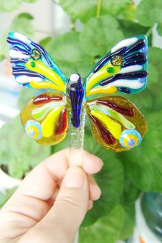 Glass Butterfly Garden Stake - Yard Art - Fused Glass Butterfly - Gardener Gift - Garden Art - Garden Decor Fused Glass Butterfly garden stake will become a wonderful decoration, bright accent in any garden or yard. It beautiful butterfly can be used as decor both indoors and out. They can be put in a vase, or decorate a flower pot. This butterfly will make the company your plants, flowers or replace them! Measurements about: 8x7.5cm.(3,15х3 inches) height is approximately: 27cm.(10.5 inc...