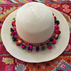 Multicolored Boho Pom Pom Sun Hat
