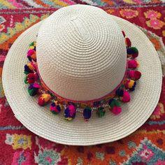 Multicolored Boho Pom Pom Sun Hat