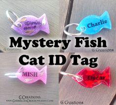 Items similar to Super SALE Fish Cat ID Tag - Glow in the Dark Mystery Design Cat Charm - Cute Cat Bling - Kawaii Glitter Cat Collar Accessory - Waterproof on Etsy Cute Dog Tags, Cat Id Tags, Cute Dogs, Cute Surprises, Bottle Jewelry, Diy Resin Art, Pet Id, Cat Collars, Pet Accessories
