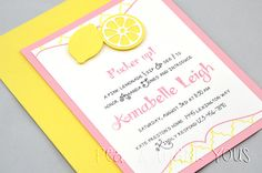 Pink Lemonade Party Invitations for Girls Birthday Party or Baby Shower via Etsy