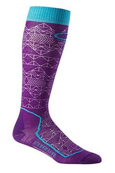 Icebreaker Women's Ski+ Ultra Light Cushion OTC Mountain Icon Socks, Emperor/White/Aquamarine, Mediu