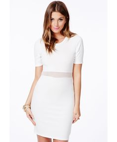 Mikayo White Bodycon Dress With Mesh Detail - Dresses - Bodycon Dresses - Missguided