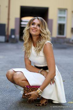 white dress, black belt, leopard pumps & bag